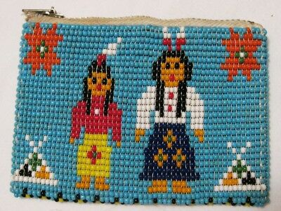Vintage Native American Indian Beaded Change Purse GREAT! c. 1950s