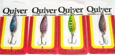 4 X Rare Luhr Jensen Quiver Casting Spoons In 4 Colours, Trout, Bass