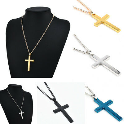 Vintage Titanium Steel Cross Charm Pendant Men Women Chain Necklace Jewelry Gift