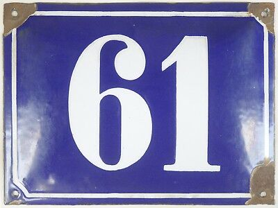 Big old blue French house number 61 door gate plate plaque enamel steel sign