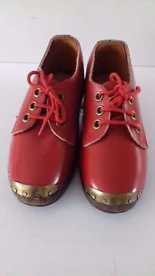 Vintage Red Pair Of Children's Clogs Size 6 With Wooden Soles