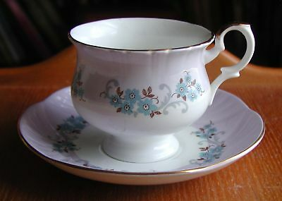 """Crown Staffordshire China 2 7/8"""" Cup & Saucer Purple Bands Flowers From England"""