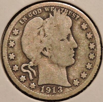 Barber Quarter - 1913-D - Historic Silver! - $1 Unlimited Shipping