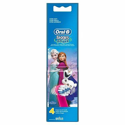 Braun Oral-B STAGES POWER FROZEN Replacement Electric Toothbrush Heads - 4 Pack