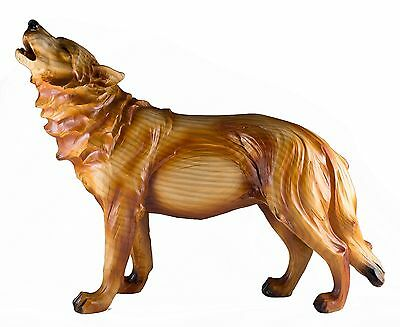 Howling Wolf Carved Wood Look Figurine Resin 12.75 Inch Long New In Box