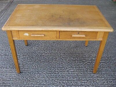 Vintage School Teachers Desk w 2 Drawers - Abbess - Mid Century - 121cm Wide