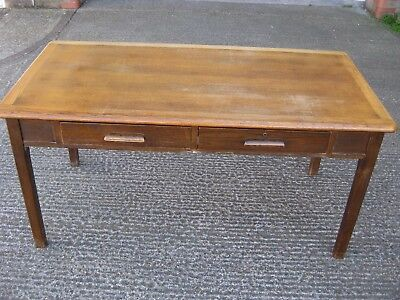 Vintage School Teachers Desk w 2 Drawers - Abbess - Mid Century - 152cm Wide