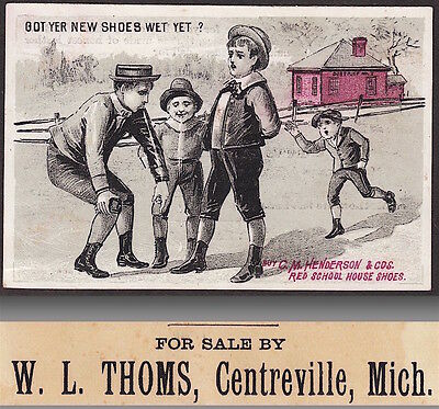 Centreville MI 1880's Henderson Little Red School House Shoe Advertising Card