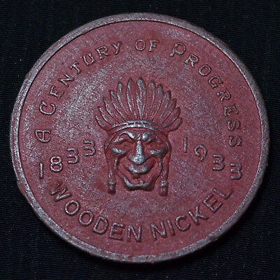 1933 Century Of Progress Expo, Chicago, Pressed Wooden Nickel, Scarcer Red Wood