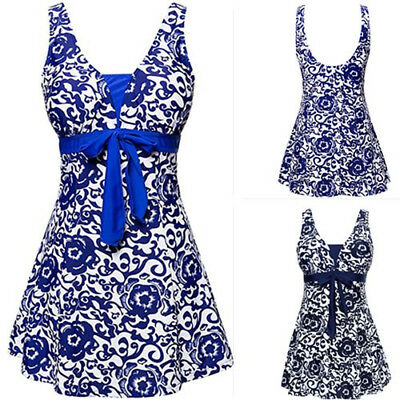 PLUS SIZE Women's Printed Swimdress One-Piece Beach Bathing Swimwear Bikini Set