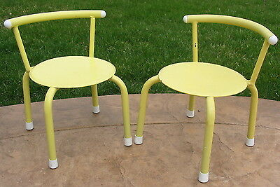 Vtg Antique Metal Rubber Coated Kid Toy Child Mini Chair Deco Retro Yellow Tiny