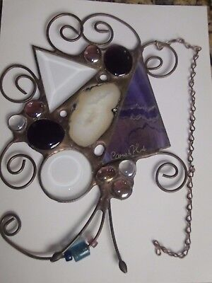 """Signed Carol Art Stained Glass Geode Suncatcher Window Hanging Ornament 10"""""""