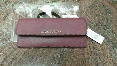 9957fb63fa80 Michael Kors Jet Set Travel Saffiano Plum/Blossom Leather Flat Wallet NWT