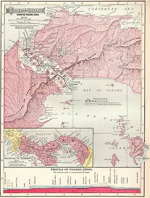 1911 Antique PANAMA CANAL Map Vintage Isthmus Of Panama Map Original 4261