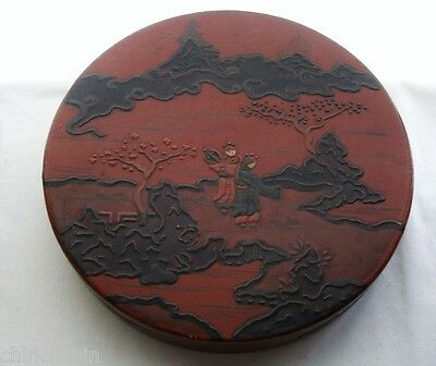 SIGNED Museum Quality JAPANESE Lacquer Wood BOX Raised HAND CRAFTED Fine DETAILS