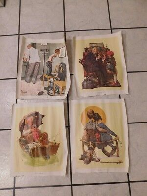 4 Norman Rockwell 1972 litho? on canvas Prints 1972 Curtis Publishing