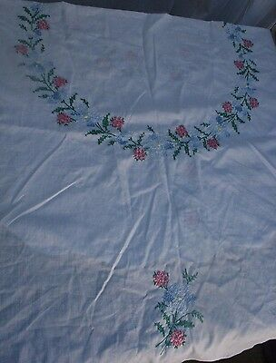 TABLECLOTH White Round Embroidered Cross Stitch Floral Pastel Hand Crafted Cute