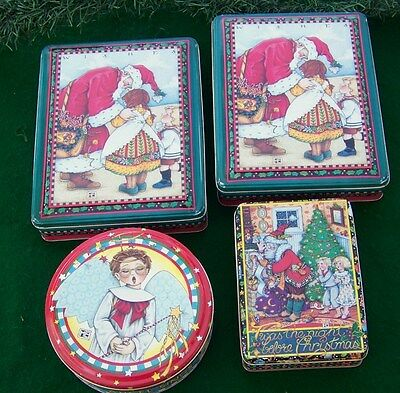 Lot 4 Vintage Mary Engelbreit Christmas Tins - Wishes - Angel - Twas Night - Nos
