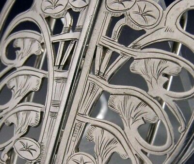 Stunning Art Nouveau Sterling Silver Belt Buckle English Antique 1901