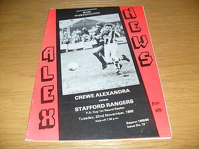 Crewe Alexandra v Stafford Rangers  22nd November 1988 FA Cup