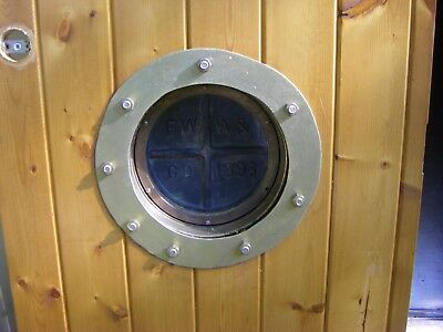 Antique 1893 F. W. W. & Co Heavy Brass Porthole Window with Door (Optional)