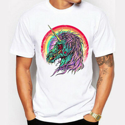 Unicorn Printed Men's Casual T-shirt Hip Hop Cool Punk Tee Short Sleeve Tops New