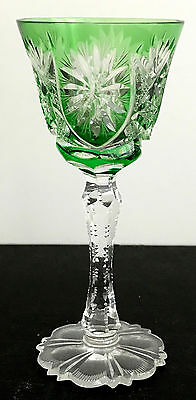 "Val St Lambert Emerald Green Cased Cut Clear Crystal 5""  Wine  Cordial  Apertif"