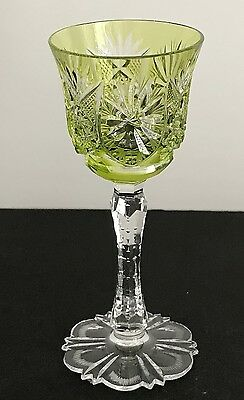 "Val St Lambert Lime Peridot Cased Cut Clear Crystal 5""  Wine  Cordial  Apertif"