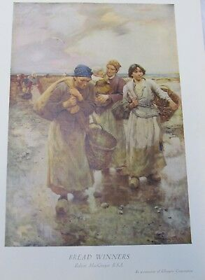 Antique PRINT TO FRAME. Bread Winners. Robert MacGregor. Old ladies and the sea