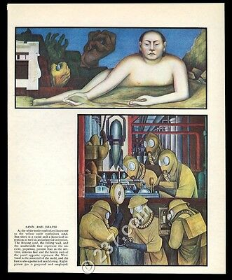 1933 Diego Rivera Sand and Death woman and poison gas theme vintage print