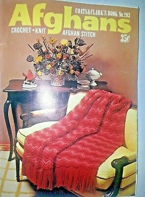 Vintage 1970 Afghans Stitch Book #203 by Coats & Clarks