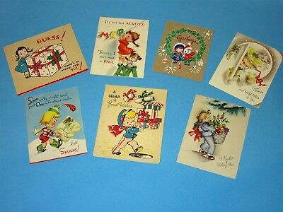 Lot 7 Vintage Christmas Card Boy Girl with Presents, Santa-In-Box popup