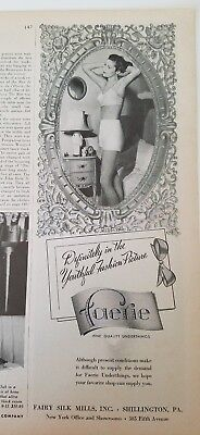 1944 FAERIE women's girdle bra vintage bedroom scene ad