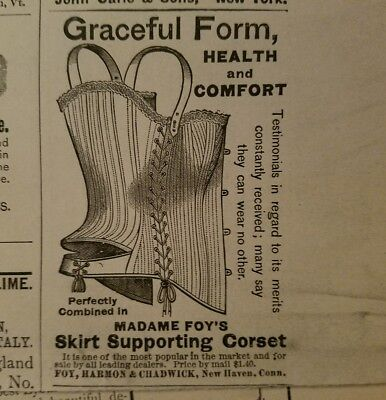 1890 Madame Foy's skirt supporting corset women's fashion ad