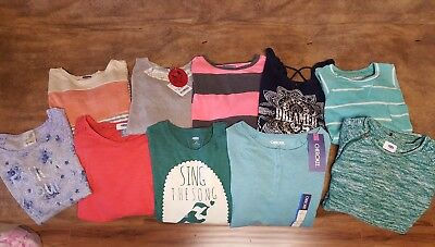 Huge Lot Of Girl's 10/12 Tops Some Nwt. Lily Bleu, Old Navy,cherokee,poof Girl.