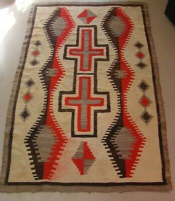 Antique Navajo Rug Transitional Blanket With Crosses 1900 Hubbell Weaving 4'x6'