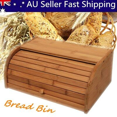 Bamboo Wooden Roll Top Bread Bin Loaf Container Home Kitchen Food Storage Box
