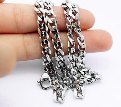 8mm 24'' Men's Polished Stainless Steel Cuban Curb Link-chain Necklace Silver