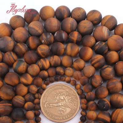 """Natural Yellow Tiger Eye Stone Round Matte Frost Loose Beads Strand 15"""" 4-12mm"""
