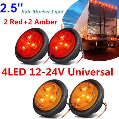 "2Amber+2Red 4LED Car Truck Pickup Trailer 2.5"" Round Side Marker Clearance Light"