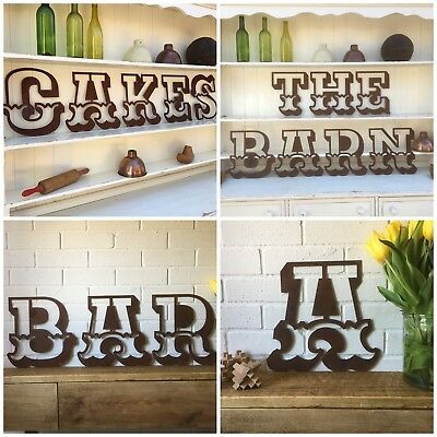 """12"""" RUSTY CARNIVAL letters metal rustic shop sign lettering vintage shabby chic"""