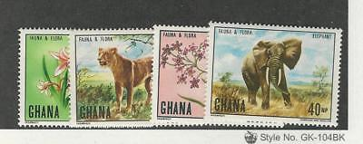 Ghana, Postage Stamp, #402-405 Mint NH, 1970 Animals, Flowers