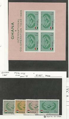 Ghana, Postage Stamp, #200-203, 203a Set & Sheet Mint NH, 1965