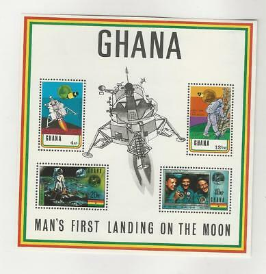 Ghana, Postage Stamp, #389a Sheet Mint NH, 1970 Space Moon Landing