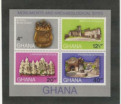 Ghana, Postage Stamp, #408a Sheet Mint NH, 1970 Archaeology