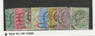 Great Britain, Postage Stamp, #127//143 (8 Different) Used, 1902-1911