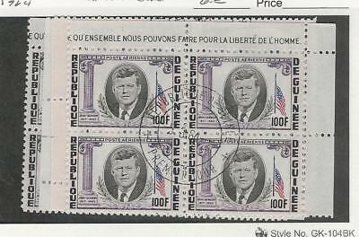 Guinea, Postage Stamp, #325-7, C56 Blocks Used, 1964 Kennedy