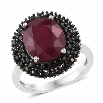 Ruby, Boi Ploi Black Spinel Ring in Platinum Over Sterling Silver 7.5 Ct
