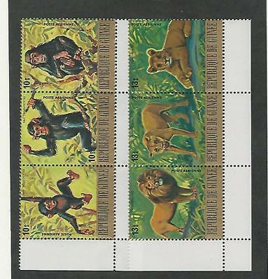 Guinea, Postage Stamp, #C140, C142 Block Mint NH, 1977 Monkey, Lion