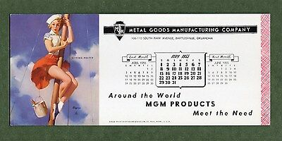 "MGM PRODUCTS Unused Blotter - 3⅞""x9"", May 1955, GIL ELVGREN Pin Up, Great Cond"